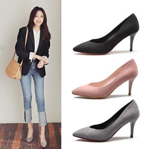 阿么2017秋季上新尖头高跟鞋浅口细跟女鞋子工作鞋韩版休闲鞋单鞋