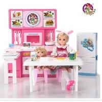 乐吉儿旗舰店大厨房洋布芭比娃娃套装礼盒2014女孩过家家玩具