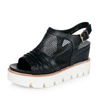 Teenmix/天美意夏季专柜同款牛皮/网布女凉鞋AM93TBL6