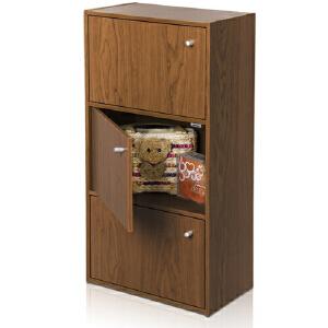 [当当自营]慧乐家 鲁比克三层组合带门柜11063 深红樱桃木色  书架书柜 收纳储物柜子 优品优质