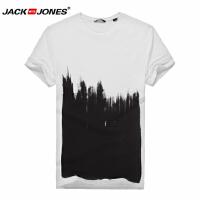 杰克琼斯时尚休闲百搭针织T恤衫圆领针织夏季短袖白色时尚款