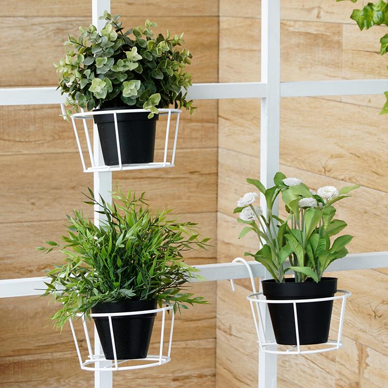 【可货到付款】欧润哲 阳台护栏挂篮花盆 室外绿萝花架壁挂式圆形花盘