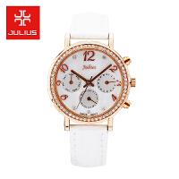 2017聚利时Julius新款简约时尚真皮表带三眼日历女士石英手表
