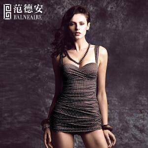 范德安保守遮肚连体裙式泳衣女 小胸钢托聚拢修身显瘦大码游泳衣
