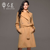 红莲 秋装装新款女士欧美修身显瘦时尚翻领中长款羊毛大衣外套