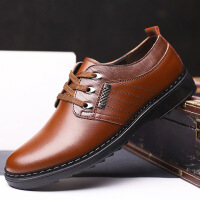 2017春季新款男士韩版英伦风系带休闲鞋真皮皮鞋男鞋单鞋商务休闲皮鞋正装鞋981BBS支持货到付款