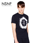 NSNF纯棉手绘字母印花黑色短袖T恤 2017年春夏新款