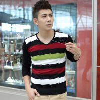韩版男士毛衣男装针织衫男秋装新款条纹V领打底衫男