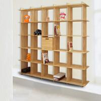【满199-100】宜哉 松木书架 格子书柜 木质书架 置物架 靠墙装饰架 文艺范架子