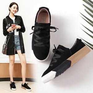 ZHR休闲鞋女秋季2017新款韩版真皮平底单鞋街拍系带板鞋百搭鞋子B30