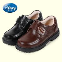 迪士尼童鞋 男童皮鞋真皮2016春秋儿童单鞋中小童男童鞋黑色英伦