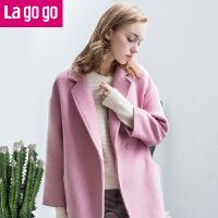 lagogo秋冬装韩版中长款呢子大衣宽松大码毛呢外套女