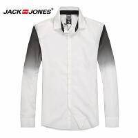 杰克琼斯秋季男士商务休闲渐变色百搭长袖衬衫16-4-1-213105056023