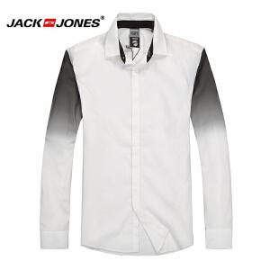 杰克琼斯 秋季 男士长袖衬衫 白黑衬衣16-4-1-213105056023