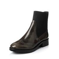 Bata/拔佳珠光牛皮方跟女靴51101CD5