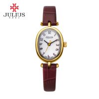 聚利时(Julius)石英表椭圆表盘真皮表带时尚简约女士手表