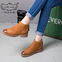 玛菲玛图秋冬欧美复古裸靴方跟低跟短靴圆头及踝靴短筒女靴马丁靴109-11S秋季新品