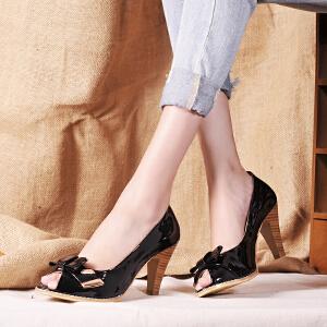 贝鸵春夏新款牛皮优雅超高跟单鞋女 真皮鱼嘴鞋蝴蝶结浅口细跟鞋