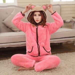 秋冬女士法兰绒睡衣韩版可爱保暖加厚带帽衣裤套家居服