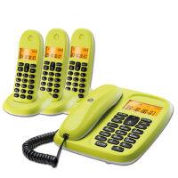 【当当热销】 摩托罗拉(Motorola)CL103C数字无绳电话机座机子母机中文显示免提套装办公家用一拖三固定无线座机