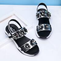 16.5cm~23.5cm巴布豆童鞋 女童凉鞋2017夏季新款韩版时尚平底中大童学生公主鞋