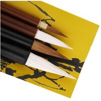 马利G1324特配中国画颜料画笔 马利套装画材 毛笔 狼毫国画笔 国画套装笔文房四宝 加 送勾线笔一只
