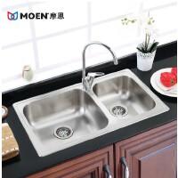 MOEN/摩恩 304不锈钢双槽水槽套餐套装水盆厨房厨盆洗菜盆28104SLS