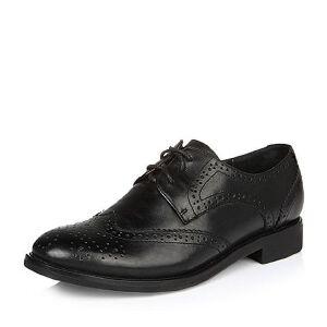 Belle/百丽2017春时尚英伦女皮鞋15301AM7春季新款 黑色(牛皮) 棕色(羊皮)