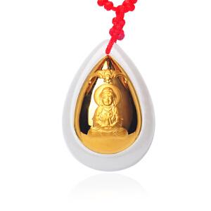 梦克拉 金镶玉吊坠观音吊坠 3D硬金 黄金镶和田玉水滴形玉坠 福音