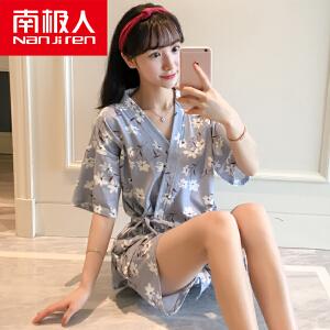 南极人日式两件套和服睡衣女夏季纯棉短袖夏天全棉韩版家居服套装