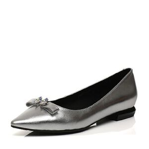 Belle/百丽2017春专柜同款舒适百搭金属牛皮女单鞋Q8C1DAQ7