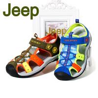 吉普JEEP儿童运动凉鞋2017年夏季新款 镂空男童沙滩鞋包头中小童凉鞋