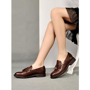 贝鸵春新真皮单鞋女方跟牛皮英伦风复古套脚鞋子流苏休闲鞋0858