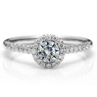 先恩尼钻石 白18K金钻戒 结婚戒指 群镶钻石戒指 情侣戒指 克拉效果闪耀 婚戒定制 求婚戒指定婚戒指