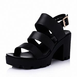 Teenmix/天美意夏季专柜同款-擦色牛皮革女皮凉鞋6K204BL6