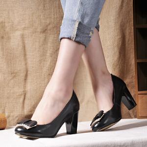 贝鸵秋新真皮单鞋女高跟时装经典女鞋浅口百搭羊皮粗跟牛皮鞋9306