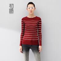 初语冬装新款女装针织衫条纹修身套头毛衣女8440323085
