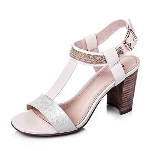 Bata/拔佳夏季羊皮高粗跟女凉鞋71501BL6