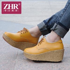 ZHR2017春季新款坡跟女鞋欧美英伦女鞋休闲鞋女坡跟单鞋女真皮厚底松糕鞋女R02