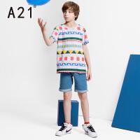 A21童装纯棉弹力牛仔短裤 舒适亲肤夏款中大童裤子男童