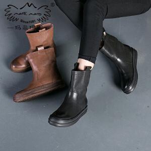 玛菲玛图秋冬平底加绒保暖马丁靴女英伦风厚底中筒靴中跟女士皮靴362-17D