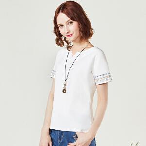 艾蓓怡 2017新款文艺民族风纯色t恤女短袖打底衫上衣百搭DTXD170559