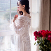 宫廷蕾丝睡衣 女 春夏透明可爱公主长袖睡袍性感吊带睡裙两件套装