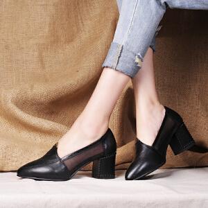 贝鸵2016春夏季新款单鞋女 尖头高跟皮鞋牛皮女鞋粗跟网纱拼色性感