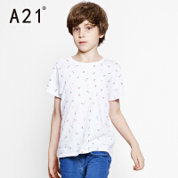 A21童装夏季短袖T恤可爱男童上衣 休闲时尚学院风短装针织衫