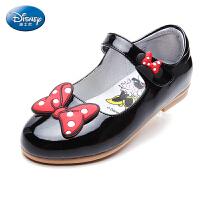 迪士尼童鞋女童蝴蝶结皮鞋17年夏季新款搭扣公主鞋小童米妮时装鞋