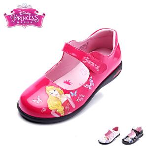 迪士尼童鞋儿童皮鞋2017年夏季新款女童时装鞋小童公主系皮鞋闪灯