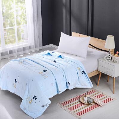 当当优品家纺 水洗棉裸睡夏凉被 200x230双人空调被 甜蜜(蓝)当当自营 柔软舒适水洗棉 水洗机洗不变形