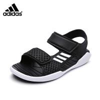 Adidas阿迪达斯凉鞋2017年夏季新款童鞋男童儿童露趾凉鞋 BA9381