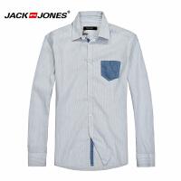 杰克琼斯男士简约百搭休闲修身长袖衬衫16-2-1-213105053020